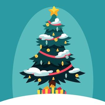 Árbol de navidad de diseño plano
