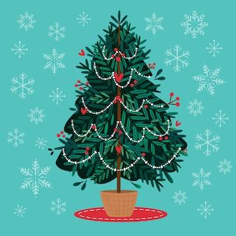 Árbol de navidad en diseño plano
