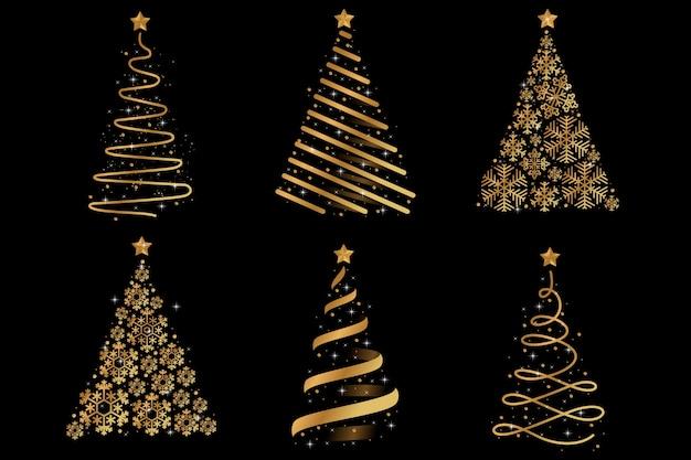 Árbol de navidad dorado abstracto