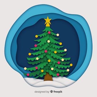 árbol de navidad de estilo papel