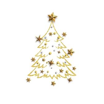 Árbol de navidad con estrellas doradas.