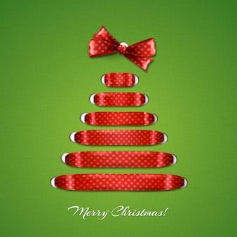 Árbol de navidad de fondo de cinta roja.