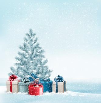 Árbol de navidad con fondo de regalos.