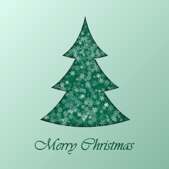 Árbol de navidad, en, fondo verde