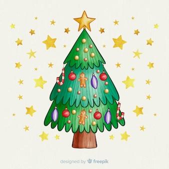 Árbol de navidad con globos y estrellas doradas