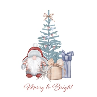 Árbol de navidad con gnomo y regalos
