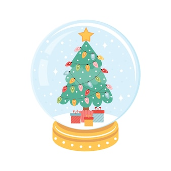 Árbol de navidad con guirnaldas de colores dentro de una bola de nieve de navidad.