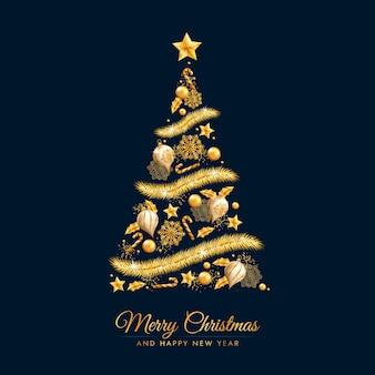 Árbol de navidad hecho de adornos dorados.