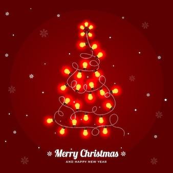 Árbol de navidad hecho de bombillas ilustración