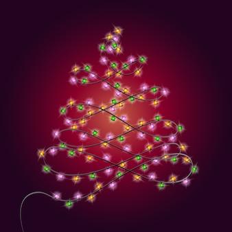 Árbol de navidad hecho de bombillas