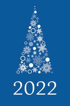 Árbol de navidad hecho de copos de nieve blancos sobre un fondo azul, texto de tarjeta de año nuevo 2022, vector