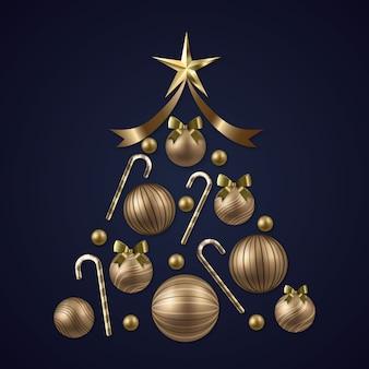 Árbol de navidad hecho de decoración dorada realista