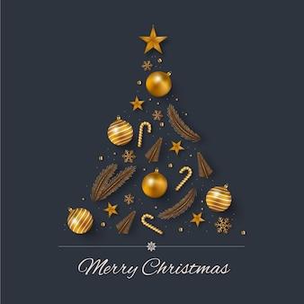 Árbol de navidad hecho de decoración dorada realista.