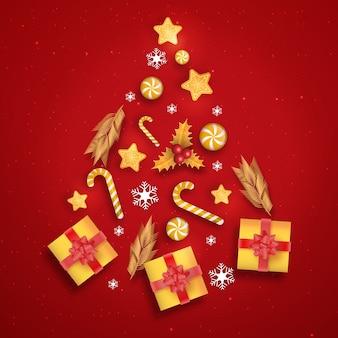 Árbol de navidad hecho de decoración realista.