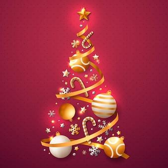 Árbol de navidad hecho de decoraciones realistas.