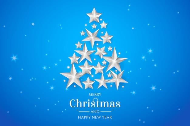 árbol de navidad hecho de estrellas de plata.