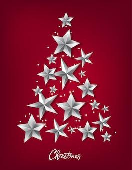 Árbol de navidad hecho de estrellas plateadas
