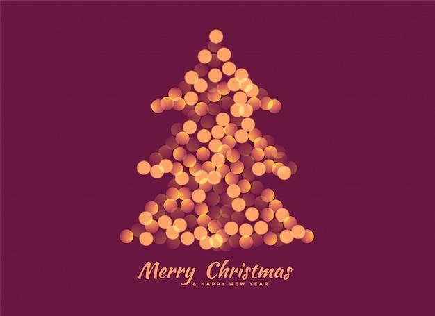 Árbol de navidad hecho con fondo de luces bokeh