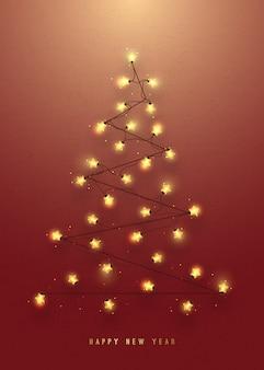 Árbol de navidad hecho de guirnaldas luminosas