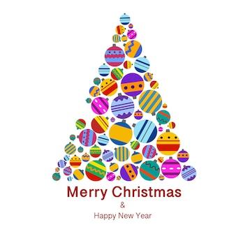 Árbol de navidad hecho de juguetes de colores en un estilo plano sobre un fondo blanco.