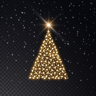 Árbol de navidad hecho de luces doradas sobre un fondo transparente.