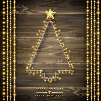 Árbol de navidad hecho de luces de navidad.