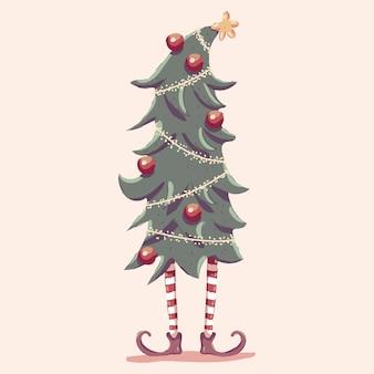 Árbol de navidad con ilustración de dibujos animados de piernas de elfo aislado sobre fondo.