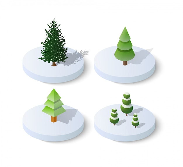 Árbol de navidad isométrico abeto