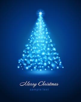 Árbol de navidad de luces de brillo azul de brillo brillante bokeh mágico e ilustración