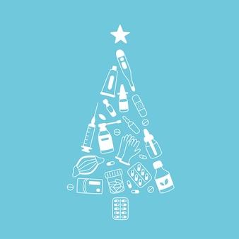 Árbol de navidad de medicamentos, medicamentos, píldoras, botellas y elementos médicos para el cuidado de la salud. medicina navidad