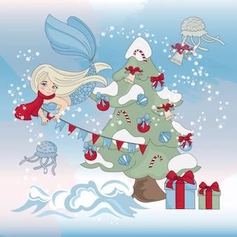 Árbol de navidad de mermaid decor conjunto de ilustración en color de año nuevo