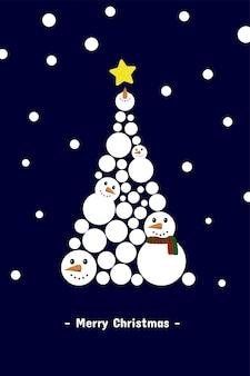 Árbol de navidad por el muñeco de nieve con nieve que cae tarjeta de felicitación