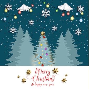 Árbol de navidad en la noche. hermosas decoraciones de luz de navidad. diseño de arte en papel.