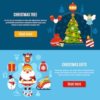 Árbol de navidad y pancartas de regalos