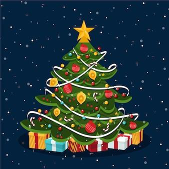 Árbol de navidad plano con adornos