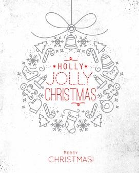 Árbol de navidad plano juguete tarjeta letras holly jolly navidad