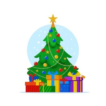 Árbol de navidad plano con regalos