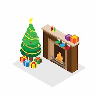 Árbol de navidad, regalo y chimenea en la ilustración del concepto isométrico