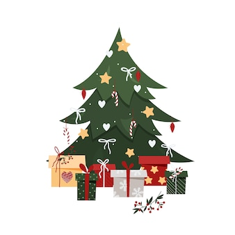 Árbol de navidad con regalos en estilo plano.