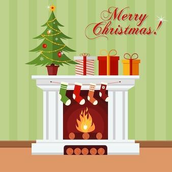 Árbol de navidad, regalos y medias en una chimenea. tarjeta de felicitación de navidad