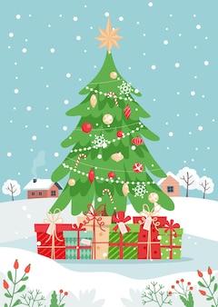 Árbol de navidad con regalos y paisaje invernal. linda