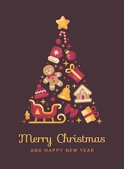 Árbol de navidad rojo y dorado hecho de navidad.