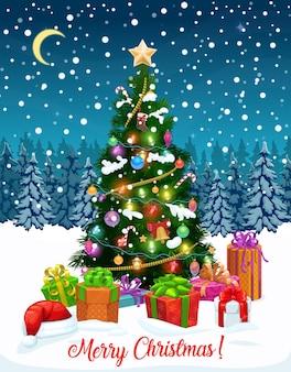 Árbol de navidad con tarjeta de felicitación de regalos.