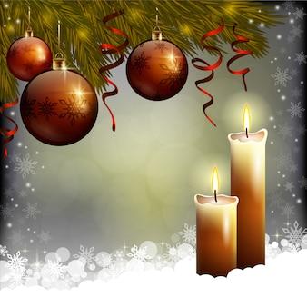Árbol de navidad y velas sobre fondo oscuro