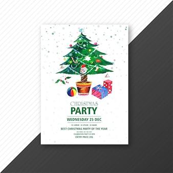 Árbol de navidad verde con folleto de festival de fiesta de navidad