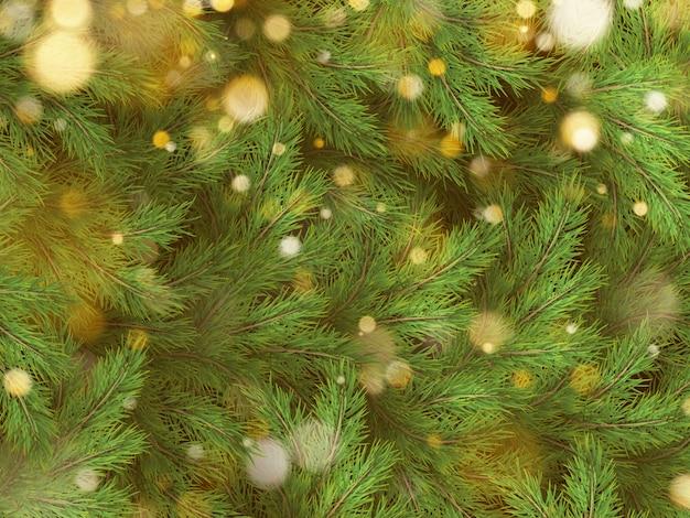 Árbol de navidad verde ramas de pino y guirnalda de oro luces.