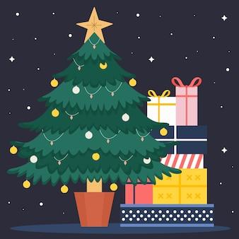 Árbol de navidad vintage con regalos