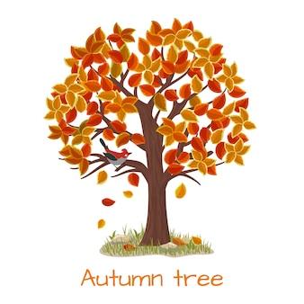 Árbol de otoño. árbol de la naturaleza, temporada de otoño y planta de rama, ilustración vectorial
