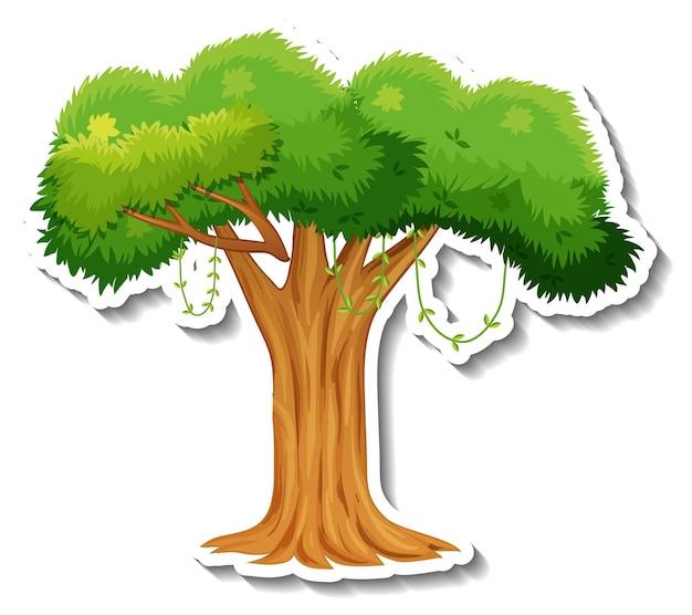 Un árbol con pegatina de hojas verdes sobre fondo blanco.