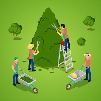 Árbol de poda de personas en miniatura
